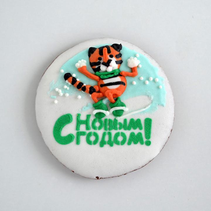 """Новый год, Рождество, Новогодний набор, Печенье """"Тигр на сноуборде"""""""