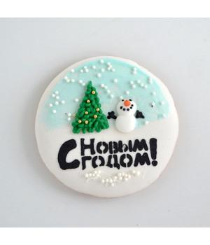 """Имбирное печенье  """"Снеговик с елкой"""""""
